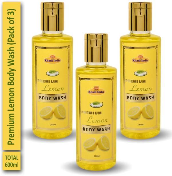 khadi natural herbal Premium Lemon Body Wash (Pack of 3)