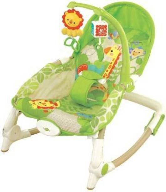 AVARIN Musical Baby Rocker With Reclining Seat Animal Print - Green Rocker and Bouncer