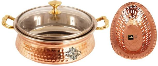 IndianArtVilla Steel Copper Casserole with 1 Copper Fruit Basket Serve Casserole