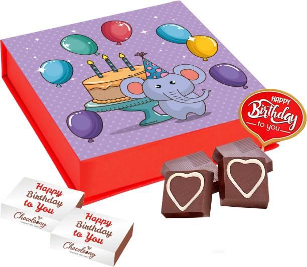 Chocoloony Chocolate Happy Birthday to You Kids Gift Box, 9 Pcs Truffles