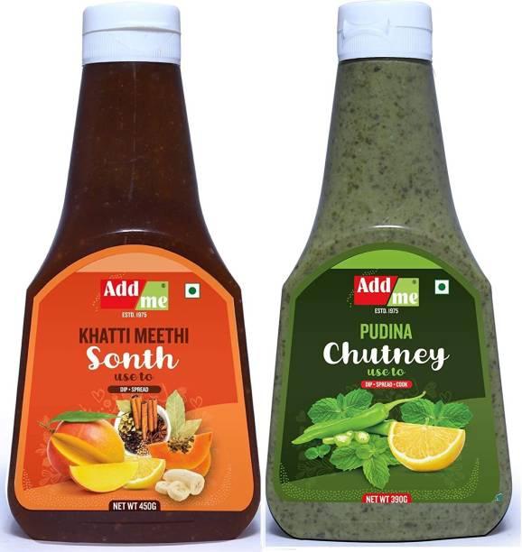 ADD ME Homemade Chutney Combo Meethi Sonth 450g + Pudina Chutney 390g Chutney Paste