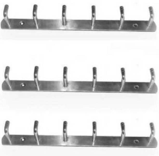 COSSIMO - CSD-08 High Grade Stainless Steel 6 Pin Cloth Hanger Bathroom, Kitchen, Wall Wardrobe Door, Hooks For Hanging keys, Clothes Holder Hook Rail - Set of 3 Pcs Door Hanger