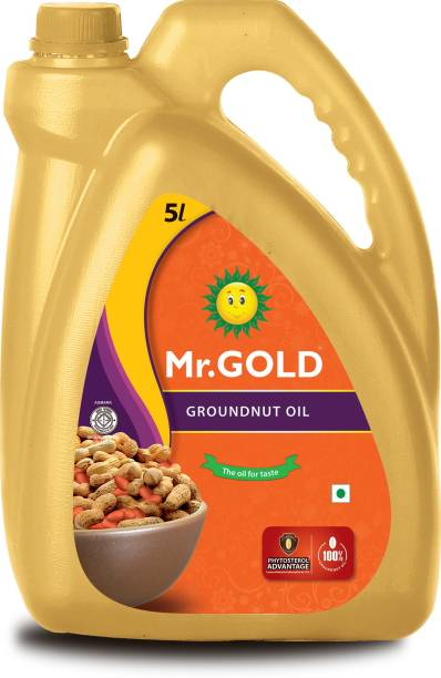 Mr. Gold Filtered Groundnut 5 Ltr Can Groundnut Oil Can
