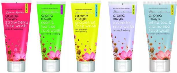 Aroma Magic Strawberry,Neem & Tea Tree,Grapefruit,Lavender,White Tea & Chamomile Combo Face Wash