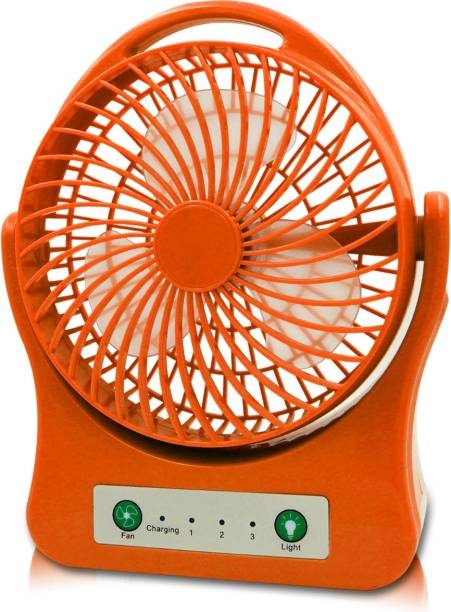 Pick Ur Needs Premium Dual High Low Speed Rechargeable Table Fan with LED Flash Light 20 mm 3 Blade Table Fan