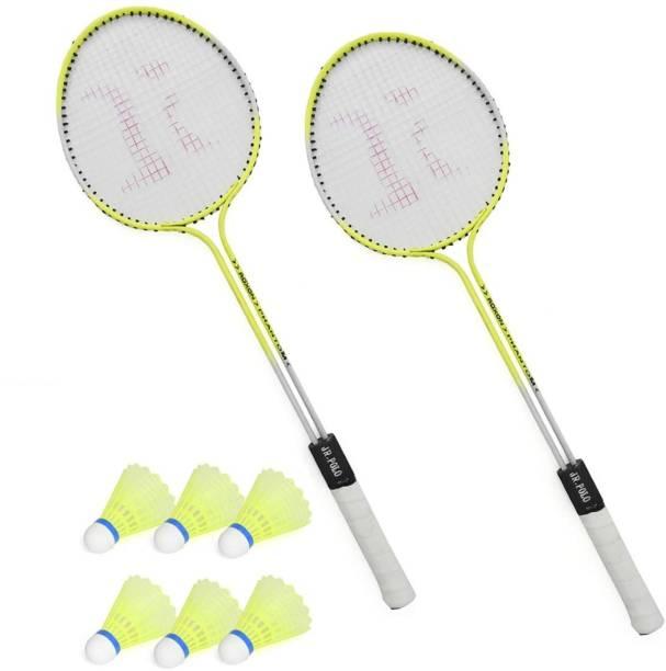 SPO Zone Badminton Set Of 2 Piece Racquet with 6 Piece Plastic Shuttle Cock (Badminton Kit) Badminton Kit