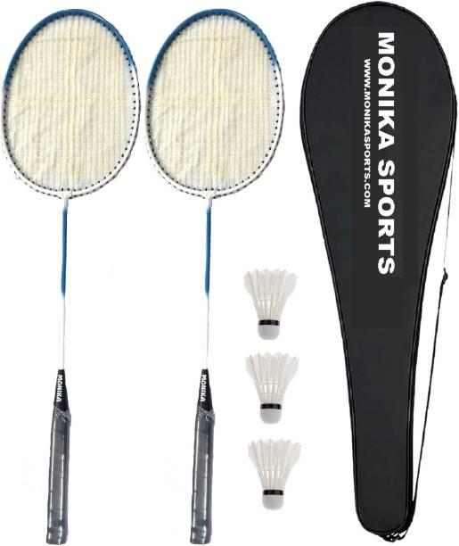 Monika Sports 2 Pc Single Shaft Racquet + 3 Pc Feather Shuttle + 1 Badminton Racquet Cover Badminton Kit