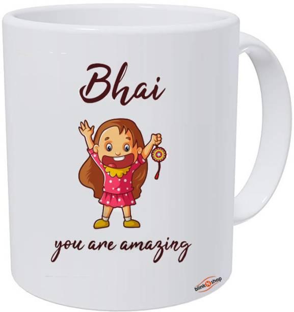 blinkNshop Coffee 325 ml for brother sister bhai bhabhi kids Rakshabandhan Ceramic Coffee Mug