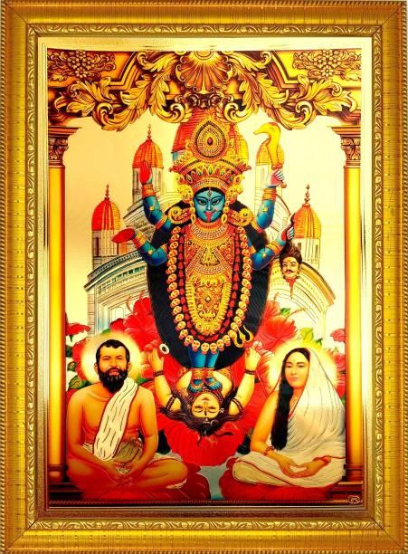 ADA Handicraft Lord Goddess Kali Ma God Photo for Pooja | Hindu Bhagwan Devi Devta Photo | God Photo Frames | Wall Decor Photo Frame | (35cm * 25cm) Religious Frame