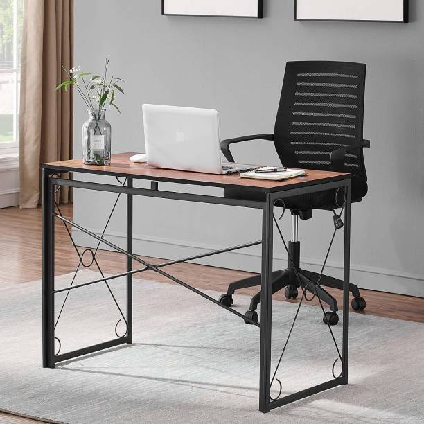 PRITI Writing Computer Folding Desk/Sturdy Steel Laptop Table for Home Office Work (Teak Brown) Engineered Wood Study Table