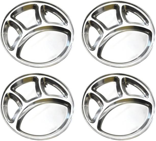Omkar Enterprises Stainless Steel Round Plate - 4 Partition Divided, Lunch/Dinner/Bhojan/Thali Plates - 3 Unit Sectioned Plate