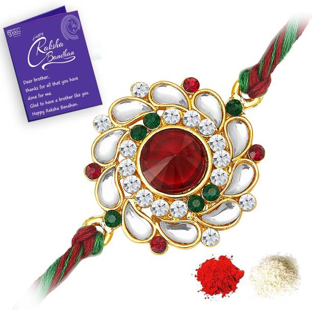Sukkhi Thread Rakhi, Chawal Roli Pack, Greeting Card  Set