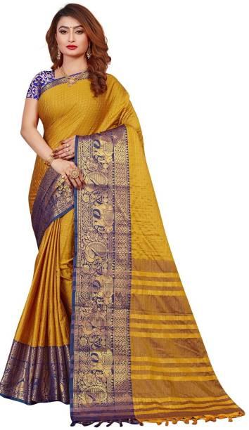 lyunica Woven, Checkered Maheshwari Cotton Silk, Jacquard Saree