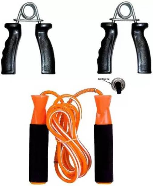 Woody PRO Gym Fitness Skipping Rope for Men, Women, Weight Loss, Kids, Girls, Adult - Best in Sports, Exercise, Workout, with Foam Handle (Orange) 1 PAIR PVC HAND GRIP COMBO Home Gym Freestyle Skipping Rope