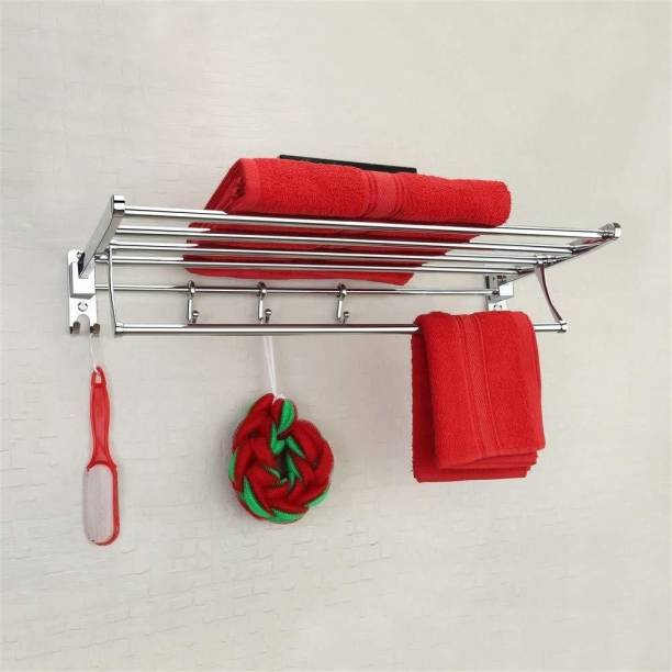 Plantex Eco Stainless Steel Folding Towel Rack/Towel Stand/Hanger Bathroom Accessories (18 Inches) Chrome Finish Towel Holder