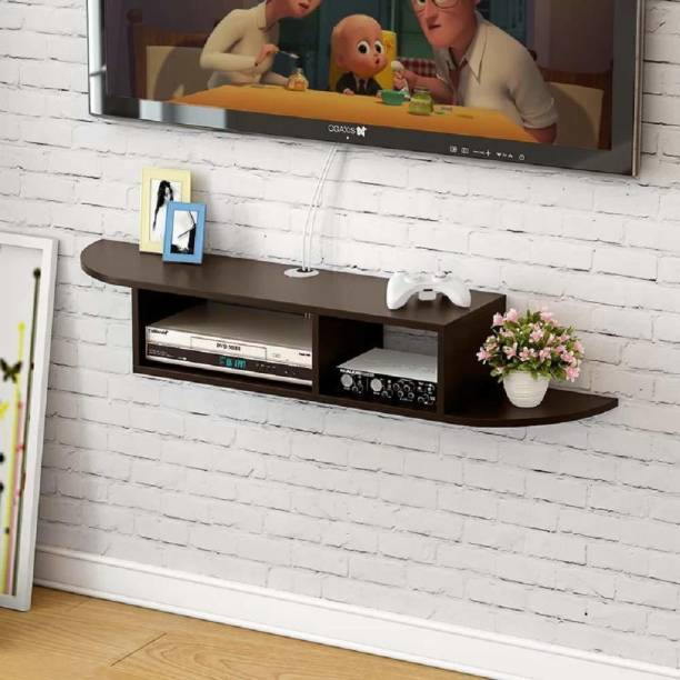 Furnifry Wooden Curved Wall Mounted Floating TV Stand/TV Entertainment Unit/TV Cabinet with Racks for Set Top Box & Decorative Objects/TV Stand Unit for Living Room with Storage shelf Engineered Wood TV Entertainment Unit