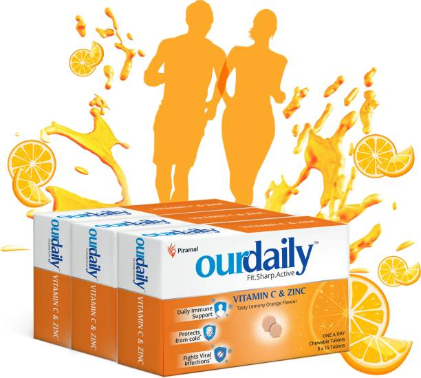 OurDaily Vitamin C (500mg) & Zinc, chewable tablets, tasty lemony orange flavour- builds Immunity against viruses and cold Tablets