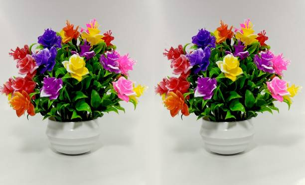 RESILIENCE Combo Plant/Flower For Decoration Bonsai Wild Artificial Plant  with Pot