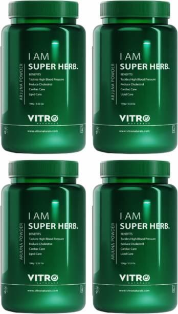 Vitro Naturals Arjuna Powder  Cholesterol & high blood pressure management  100% pure Arjuna  I AM SUBERHERB  100 g each - Pack of 4