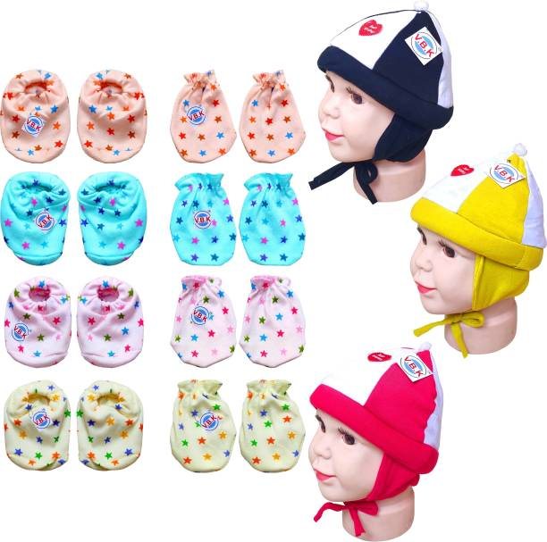 V.B.K Baby Boy and Baby Girl Combo Pack Of Hand Mittens (4 Pair), Leg Booties (4 Pair) and Cap (3 Pcs), Pure Hosiery Soft Skin Friendly Fabric, 0 to 4 Months