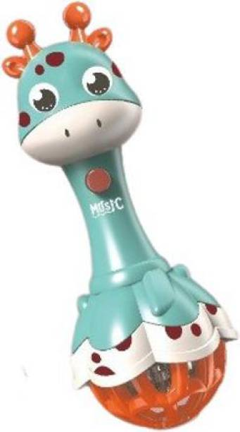 TEMSON Baby Musical Flashing Cute Giraffe Hand Bell Rattle for New-Born Babies With Light & Music ( Style 4 ) Rattle