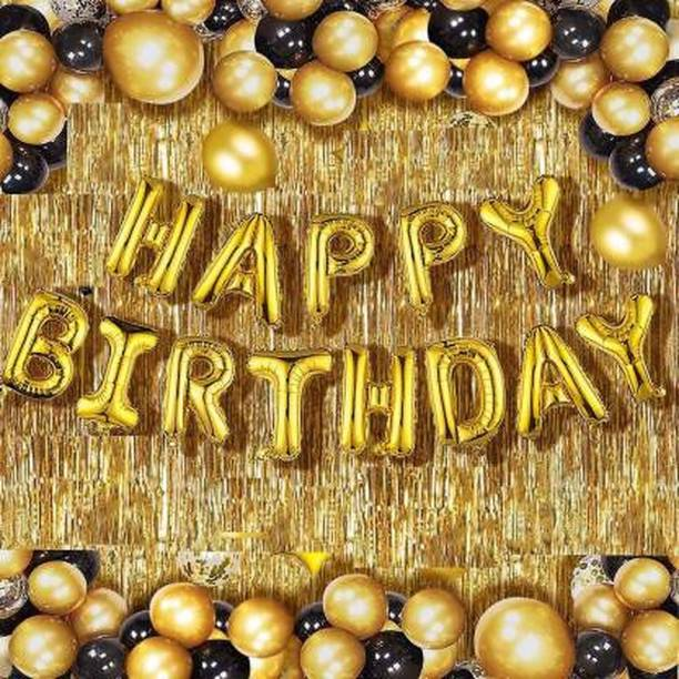 Chunky Funky Store Solid Happy Birthday Golden Foil Letter Balloons(13 foil latter 1 pack)With 30 Pic Black Gold Balloons And 2 Pcs Golden Metallic Fringe Shiny Curtains(Pack Of 45) Balloon