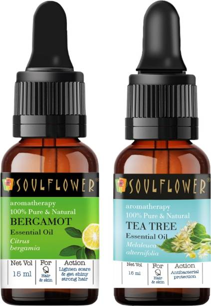 Soulflower Tea Tree Essential Oil 15ml & Bergamot Essential Oil 15ml (30 ml)| 100% Pure, Natural and Undiluted for Hair, Skin and Face
