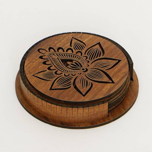 SMART BUTTON Round Wood Coaster Set