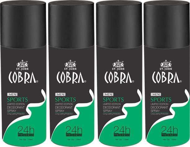 VI-JOHN Cobra Men Deodrant SPORTS Limited Edition Spray 150ml Pack of 4 Body Mist  -  For Men
