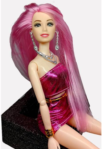 eEdgestore Pink Cute & Charming Foldable doll with Party Outfit