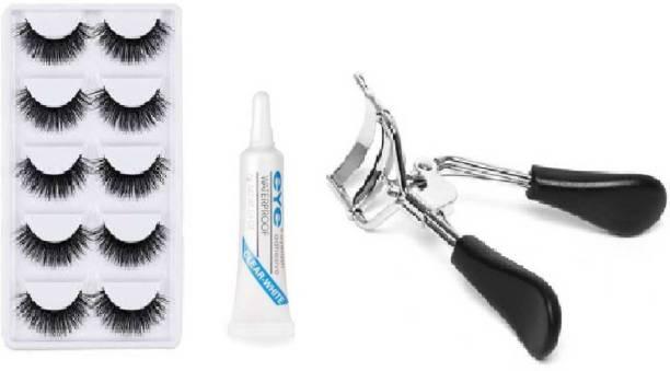 Prefetto COSMO 5 Pair Eyelash, Glue, Curler COMBO KIT