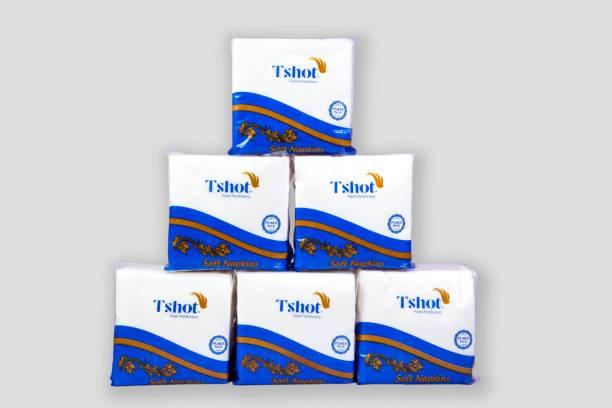 Tshot Paper Napkin 600 Soft Tissue Paper (Premium Quality) ( Pack OF 6) White Napkins