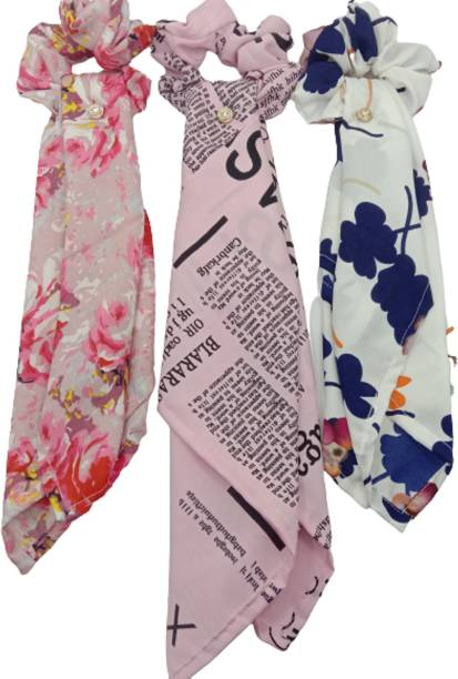 VAANYA Women Hair Ribbon Scrunchies Ties Satin Floral Scarf Cotton Hair Bands,Pack Of 3 Ponytail Holders Scrunchy Girls Elastic Bow Accessories(PACK OF 3 ) Rubber Band Rubber Band