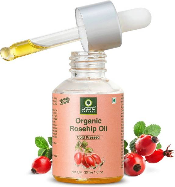 Organic Harvest Cold-Pressed Rosehip Seed Oil, Boosts Collagen Production, Reduces Dullness & Hyper-pigmentation, For Healthy Hair & Skin Luminosity | Unbleached | Sulphate & Paraben Free - 30ML Hair Oil