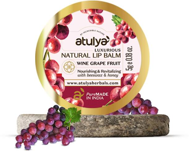 Atulya Wine Grape Fruit Natural Lip Balm With Bees Wax and Honey Natural