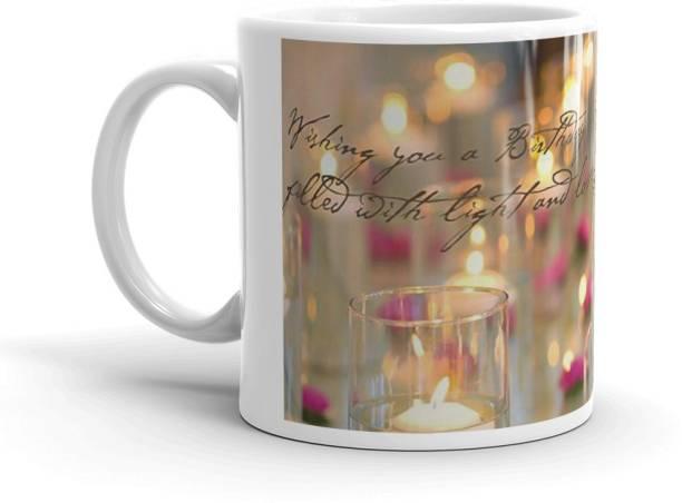 "nmrk ""Joy and light"" special birthday gift white ceramic mug for friends, girlfriend, boyfriend, wife, husband, family (325ml) Ceramic Coffee Mug"
