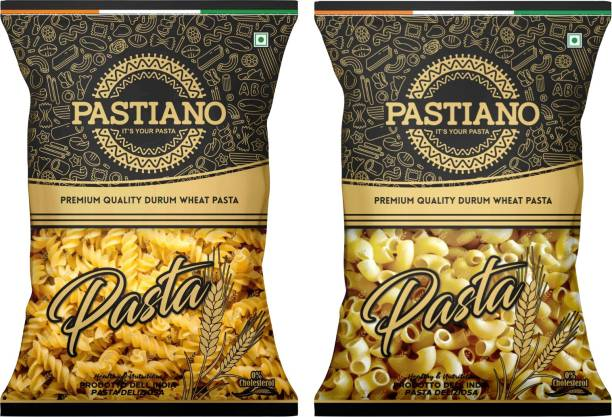 PASTIANO Fusilli & Macaroni Durum Wheat Pasta- Pack of 2- 2 kgs Fusilli, Macaroni Pasta