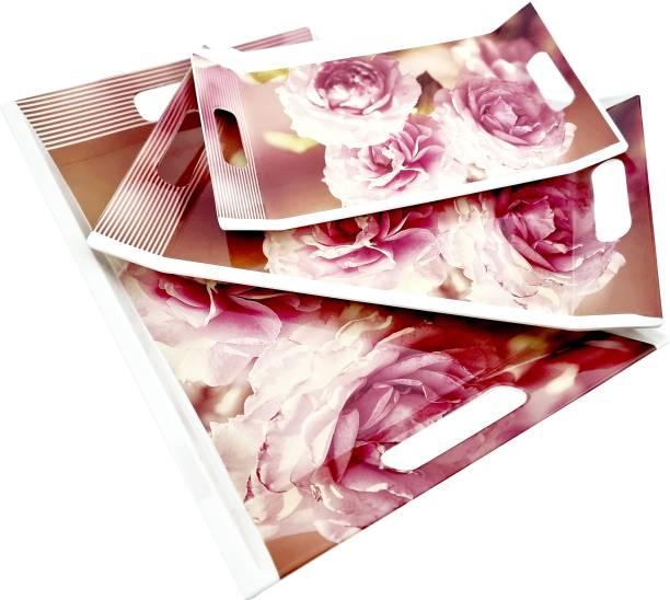 UPC Super Fine Melamine Floral Print Break Resistant Serving Tray