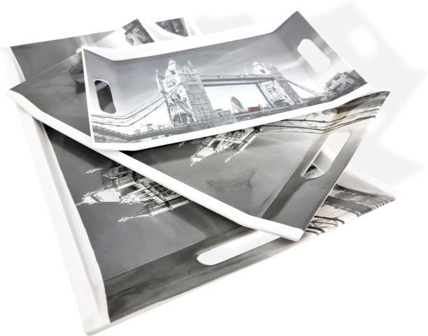 UPC Super Fine Melamine Greyscale Print Break Resistant serving Tray