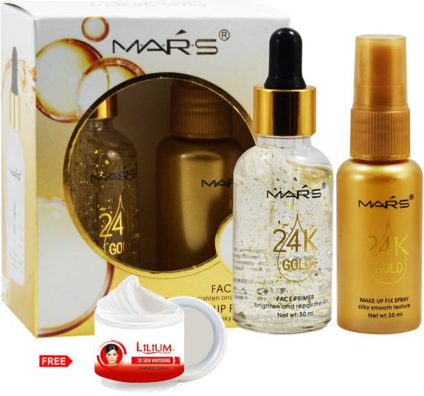 MARS 2in1 Face Primer and Makeup Fix Spray-58739 Primer - 65 ml, With Lilium Skin Whitening (Natural) Primer  - 65 ml