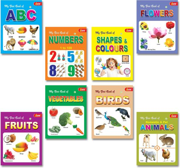 My Picture Book Collections (Set Of 8) - My First Book Of ABC, My First Book Of Numbers, My First Book Of Shapes & Colours, My First Book Of Flowers, My First Book Of Fruits Vegetables, My First Book Of Birds, My First Book Of Animals