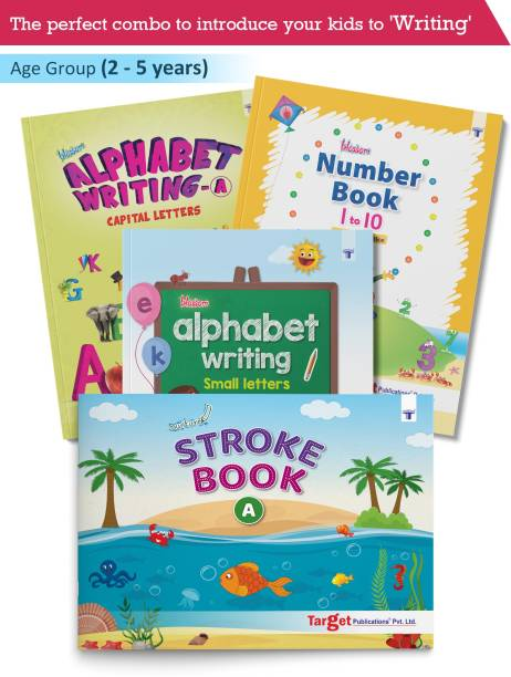 Nursery Writing Books For Kids (Combo Of 4 Books Viz. Nurture Stroke Book A, Blossom Alphabet Writing Small Letters, Blossom Alphabet Writing Capital Letters A And Blossom Number Book 1 To 10)