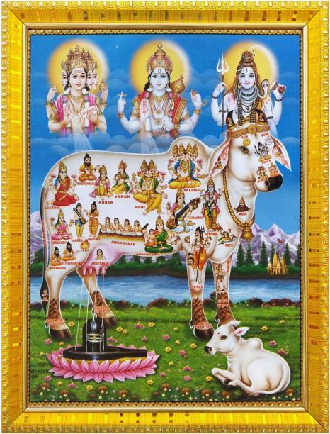 koshtak kamdhenu cow with brahma vishnu mahesh / shiva Religious Frame