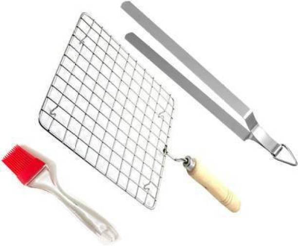 ANIAN Roasting Net with Steel Tong, Stainless Steel Wire Roaster, Papad Jali,Roti Grill,Chapati Grill Square Roaster 25 cm Utility Tongs (Pack of 2) 1 kg Roaster