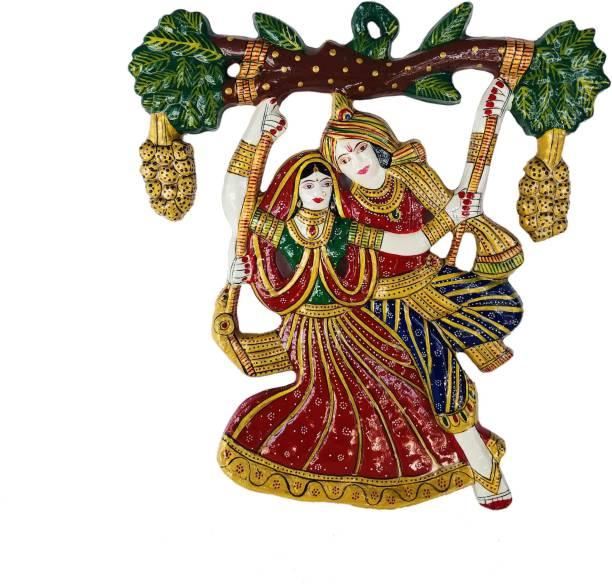 Antiques Nirmala Antiques Nirmala Radha Krishna Tree Jhula Wall Hanging Decorative Showpiece - 35 cm (Metal, Gold) Decorative Showpiece  -  28 cm