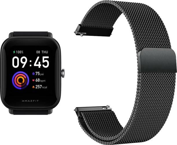 ACM Watch Strap Magnetic Loop 20mm for Amazfit Bip U A2017 ( Smartwatch Luxury Metal Chain Band Black) WSM4M20BK1302 Smart Watch Strap