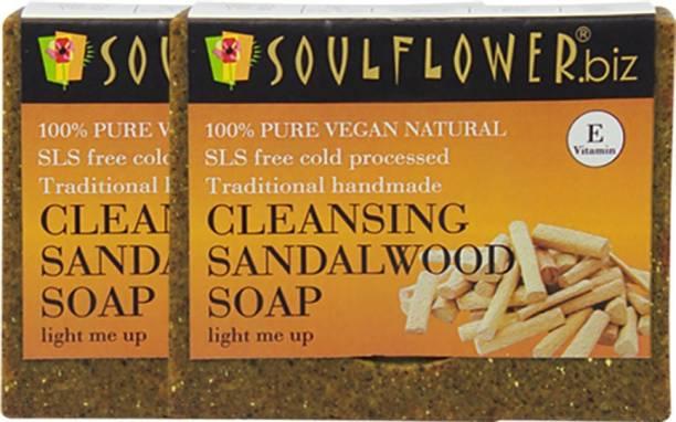 Soulflower Cleansing Sandalwood Soap 150g, For Moisturizing Soap, Pimple Care Soap, Skin Brightening, Luxury, Premium Handmade Soap