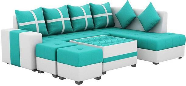 Torque Jamestown L Shape RHS Set With Centre Table And Puffy Fabric 3 + 2 + 1 + 1 Aqua Blue Sofa Set