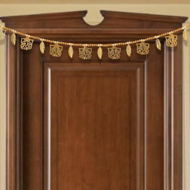 P A HEALTH AND FITNESS Golden Moti Ganeshji/ Vinayak ji Leaf Pearl Toran / Bandanwal For Home/Mandir/Office Main Gate Hanging Décor[ Size 3 feet] Toran