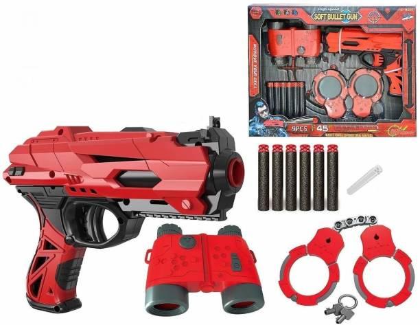 jmv High Speed Manual Soft Bullet Gun with 6 Foam Bullets, Handcuffs and Telescope for Kids/Boys/Children/Toy Gun Pistol for Kids Guns & Darts